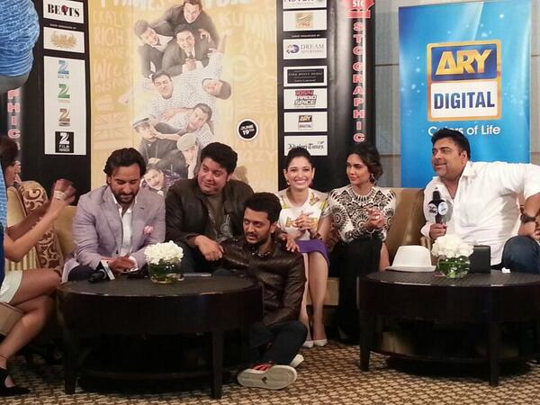 This is how they been together when The Media interviews the energetic Humshakals team who are at their hilarious best
