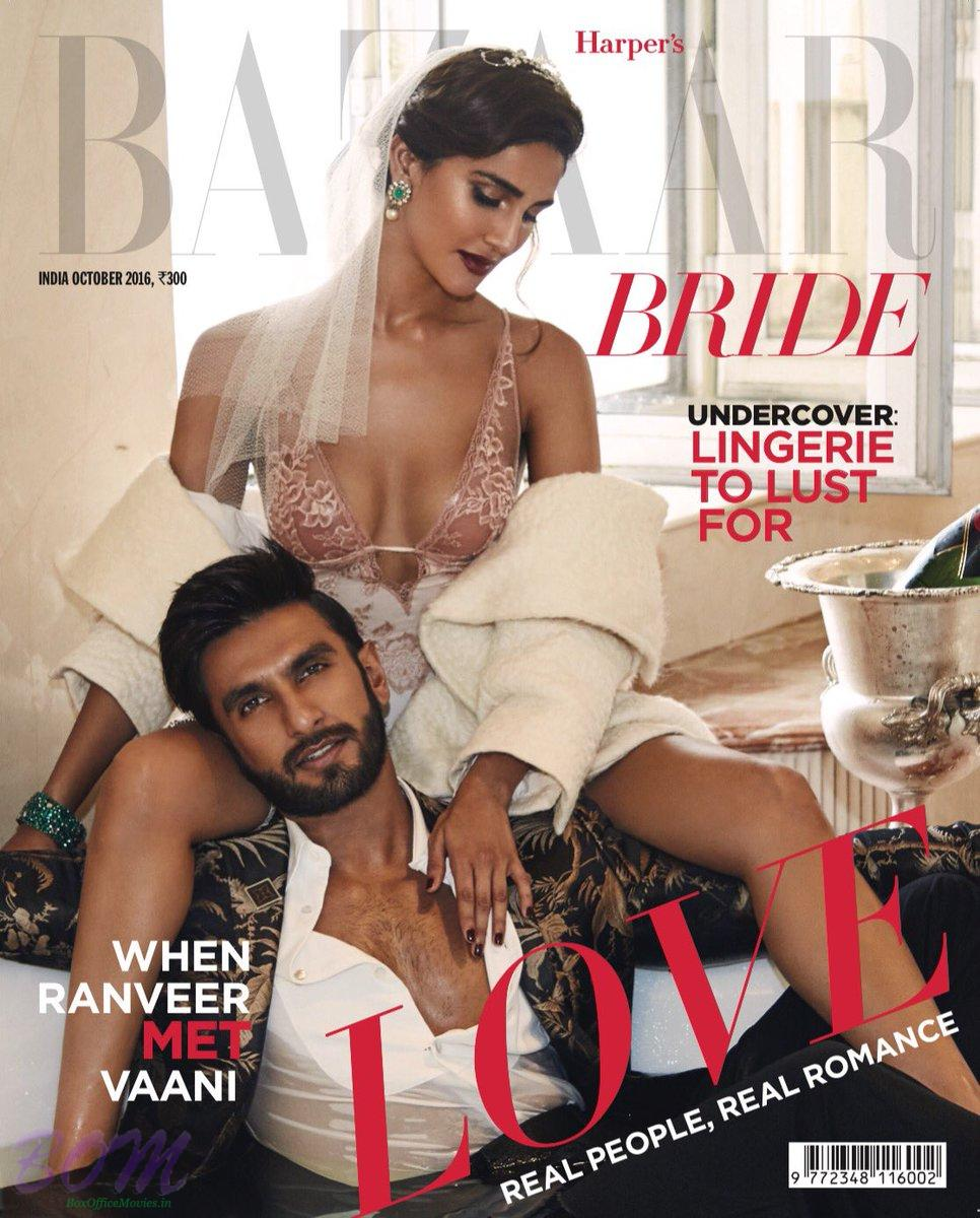 Vaani Kapoor cover girl Oct 2016 with Ranveer Singh for Bazaar Bride India