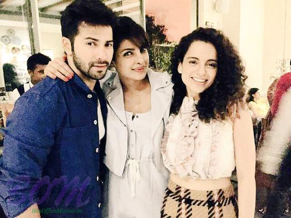 Varun Dhawan, Priyanka Chopra and Kangana Ranut picture together