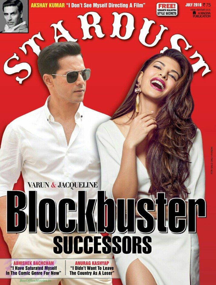 Varun Dhawan and Jacqueline Fernandez on cover page of Stardust magazine July2016 issue