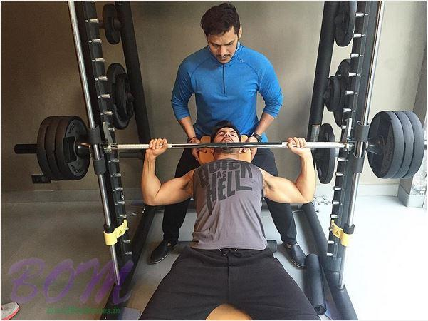 Varun Dhawan during a training session for Judwaa 2 movie
