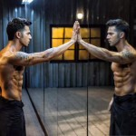 Varun Dhawan mirror reflection with 8 Pack abs