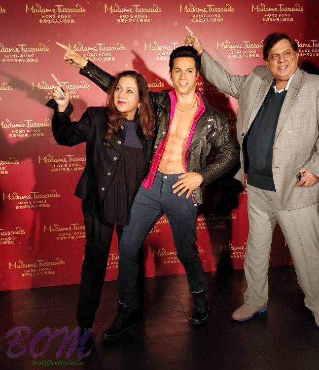 Varun Dhawan parents cool moment in Madame Tussauds Hong Kong with Varuns's wax statue