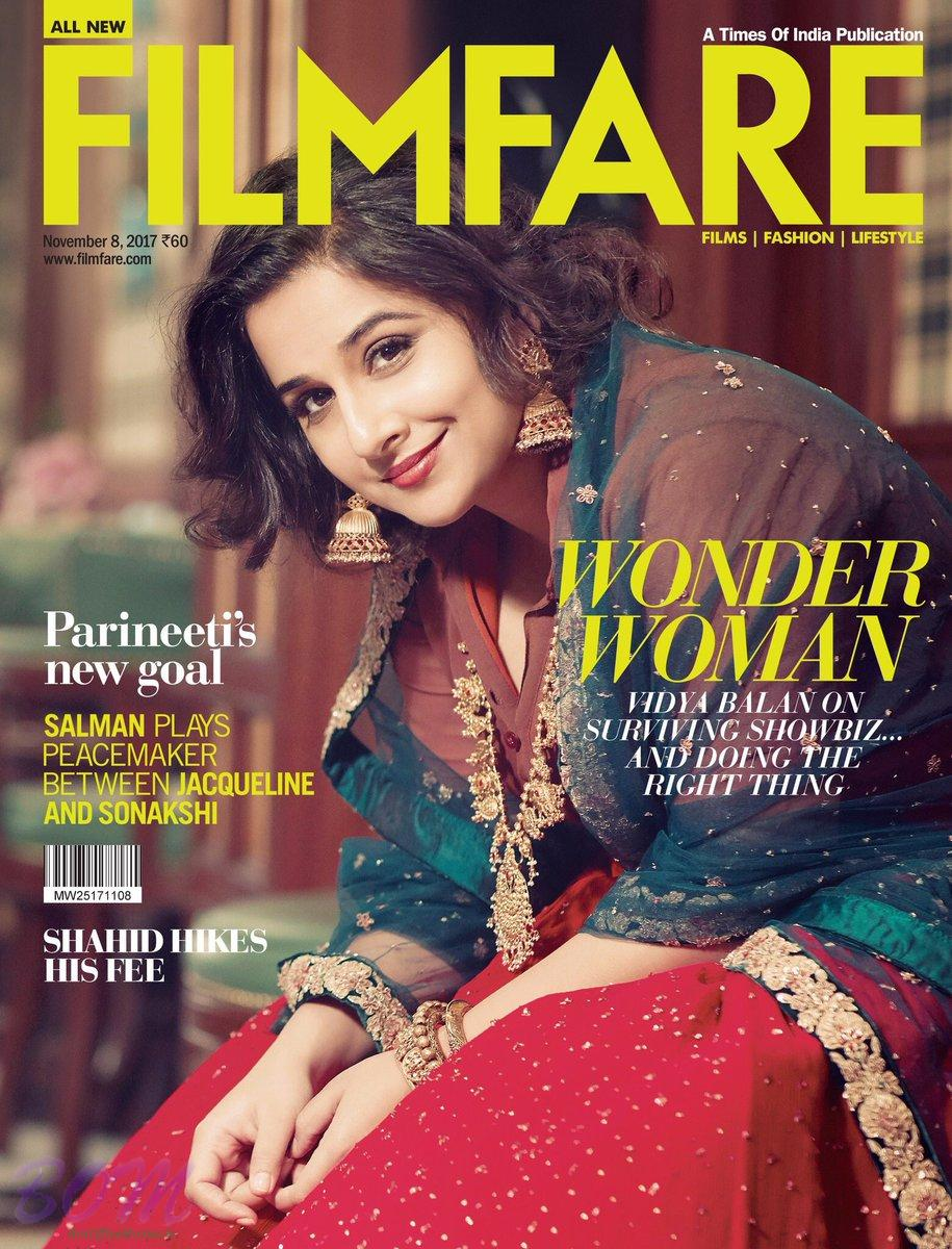 Vidya Balan cover girl for Filmfare Nov 2017 issue