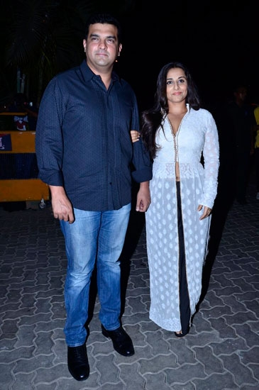 Vidya Balan with the director of Bobby Jasoos at the trailer launch.