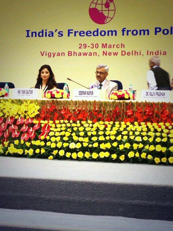 Yami Gautam - India is finally Polio-free. Priviledged to be a guest speaker at the India Polio Conclave 2014 in Delhi