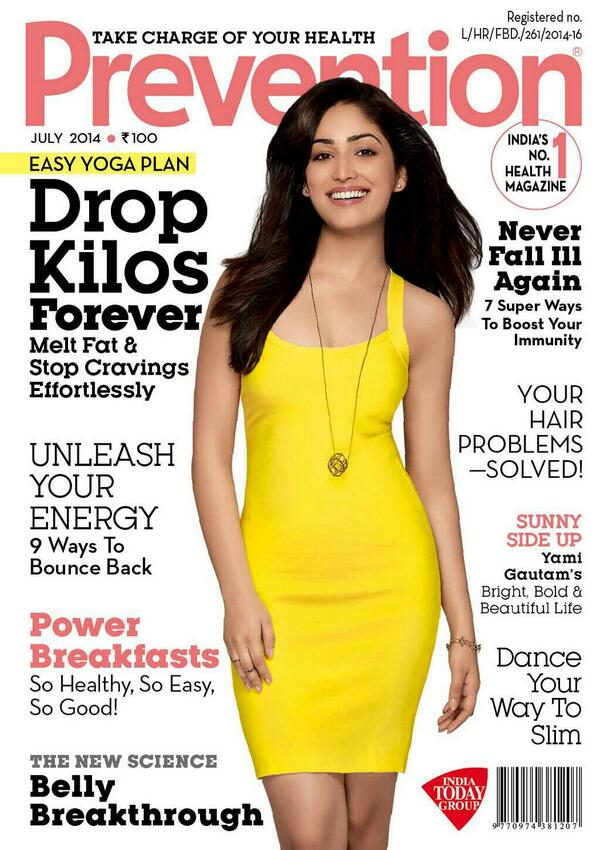Yami Gautam cover page girl of Prevention Magazine - Issue July 2014