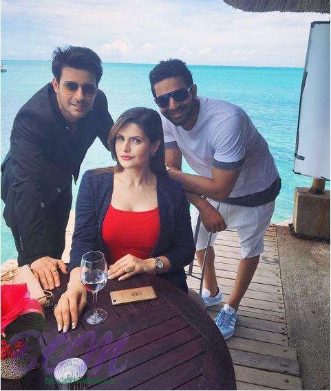 Zareen Khan with Gautam Rode and Chirag Bajaj in Mauritius for Aksar 2