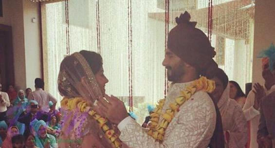 wedding picture of Shahid and his wife